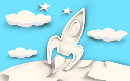 Rocket Launch Paper Cut - White. Rocket Launch in the Look of paper cuts put together. white paper on blue background (Illustration royalty free illustration
