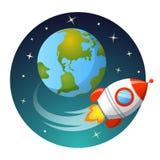 Rocket Launch Rocket-Fliegen um Erde Startkonzept Stockfotografie