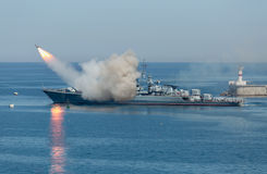 Rocket launch from russian military cruiser. Rocket launch from warship. Start anti-ship missile from russian military cruiser stock images