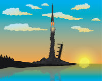Rocket Launch Silhouette. Illustration of rocket launch silhouette, eps 10 royalty free illustration