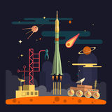 Rocket launch on space landscape background. Vector illustration in flat design. Planets, satellite, stars, moon rover, comets, mo Royalty Free Stock Image