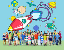 Rocket Launch Space Outerspace Planets-Concept Stock Foto's