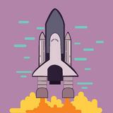 Rocket launch space shuttle take off flat line style illustration. Vector Stock Image