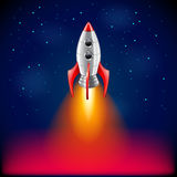 Rocket launch in space vector background. Rocket launch in space photo realistic vector background stock illustration