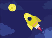 Rocket. Launch, space ,  vector,  flying stock illustration