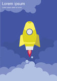 Rocket. Launch, space ,  vector,  flying royalty free illustration