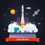 Rocket launch from spaceport pad. Starry cosmos with satellite, comet and satellite. Flat vector illustration Stock Photography