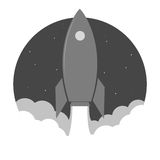 Rocket launch sticker Royalty Free Stock Image