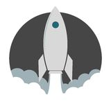 Rocket launch sticker Royalty Free Stock Photo