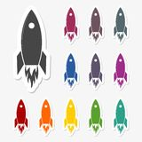 Rocket launch stickers set Stock Images