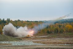 Rocket launch by TOS-1A system Royalty Free Stock Photos