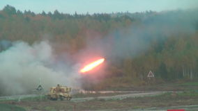 Rocket launch by TOS-1A system stock video