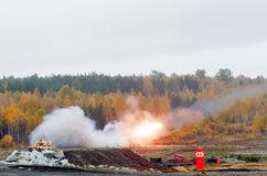 Rocket launch by TOS-1A system Stock Photos