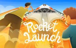 Rocket Launch Vaisseau spatial international, navette dans l'espace, vue inférieure Technologie et science, bateau dans le ciel L illustration stock