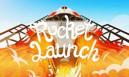 Rocket Launch Vaisseau spatial international, navette dans l'espace, vue inférieure Technologie et science, vaisseau spatial ou b illustration libre de droits