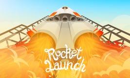Rocket Launch Vaisseau spatial international, navette dans l'espace, vue inférieure Technologie et science, vaisseau spatial ou b illustration stock