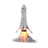 Rocket launch on white background royalty free stock photography