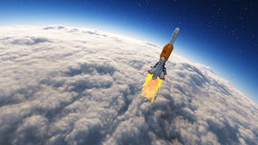 Rocket launched. Into the space leaving the earth, earth covered by clouds. This is a 3d render illustration Stock Images