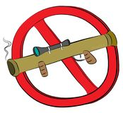 Rocket launcher  bazooka not allowed sign.  Royalty Free Stock Photography