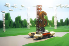 Rocket Launcher with a dollar sign, polygonal style concept Stock Photos