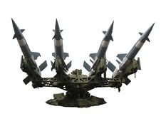 Rocket launcher isolated. Rocket launcher with four missiles isolated Royalty Free Stock Photography