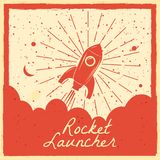 Rocket launcher startup rocket retro poster with vintage colors and grunge effect. Vector, illustration, isolated. Rocket launcher startup rocket retro poster vector illustration