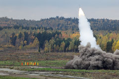 Rocket launcher. Volley heavy surface-to-surface multiple rocket launcher with cluster munition Stock Photos
