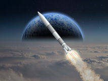 A rocket launches on alien planet Royalty Free Stock Photos