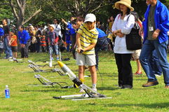 Rocket launching by children during JAXA open-hous Stock Images