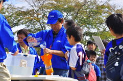 Rocket launching by children during JAXA open-hous. JAXA organised an open-house on the 16th of October 2010 which enables visit to the organisation's facilities Stock Photos