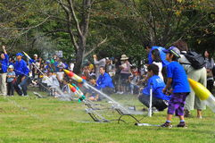 Rocket launching by children during JAXA open-hous. JAXA organised an open-house on the 16th of October 2010 which enables visit to the organisation's facilities stock photo