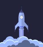 Rocket launching flat design Royalty Free Stock Images