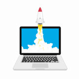 Rocket launching on laptop. Vector illustration of rocket launching on laptop. Project start up and development process idea Royalty Free Stock Photography