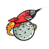 Rocket Launching Off Moon Mascot ilustración del vector