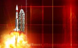 Rocket launching from platform Royalty Free Stock Photo