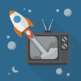 Rocket launching from retro television Stock Images