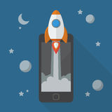 Rocket launching from smartphone Royalty Free Stock Photo