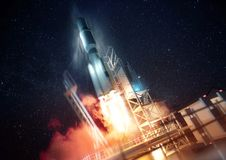 Rocket Launching In Space Illustration Stock