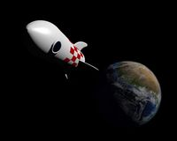 Rocket leaving planet Stock Image
