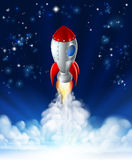 Rocket Lift Off. A cartoon rocket lifting off or launching in front of a star filled sky royalty free illustration