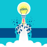 Rocket and light bulb. Cute cartoon rocket and light bulb on blue background Stock Image