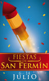 Rocket lighted with Confetti Celebrating Spanish Festival of San Fermin, Vector Illustration. Poster with a red rocket lighted with confetti rain and greeting Royalty Free Stock Images