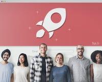 Rocket Login Password Internet Network Security System Success C Stock Photos