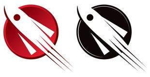 Rocket logo. A red rocket ship logo icon royalty free illustration