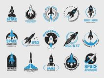 Rocket logo. Space satelite retro shuttle moon discovery logotypes of observatory vector black badges isolated. Shuttle and satellite, spaceship and rocket stock illustration