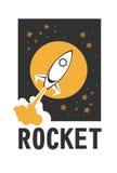 Rocket logo. Vector illustration of a business start-up rocket space exploration flat style design royalty free illustration