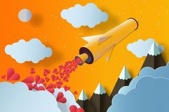 Rocket with a lot of hearts Mountains and clouds. Love concept stock images