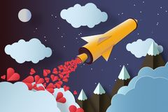 Rocket with a lot of hearts Mountains and clouds. Love concept stock photos