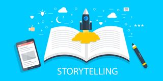 Storytelling - brand story - creative content development - new idea - content writing concept. Flat design banner. Rocket lunching from a story book, creative stock illustration