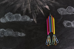 Rocket made out of crayons. Stock Photography